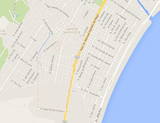 Mapa bairro do Poiares em Caraguatatuba.